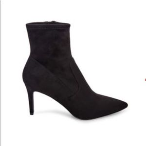 Black pointed toe booties